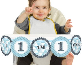 Fun to be One - 1st Birthday Boy - I Am One - First Birthday High Chair Banner - First Birthday Party Decorations