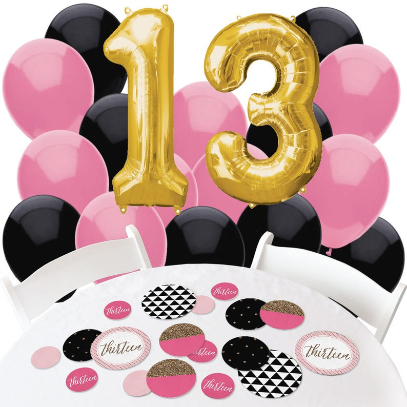 13th Birthday Decorations Confetti And Balloon Kit Pink