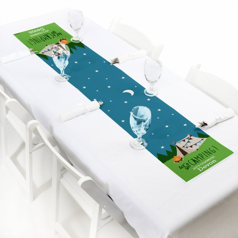 Custom Camping Baby Shower or Birthday Party Decorations Happy Camper Personalized Happy Camper Party Supplies Petite Table Runner