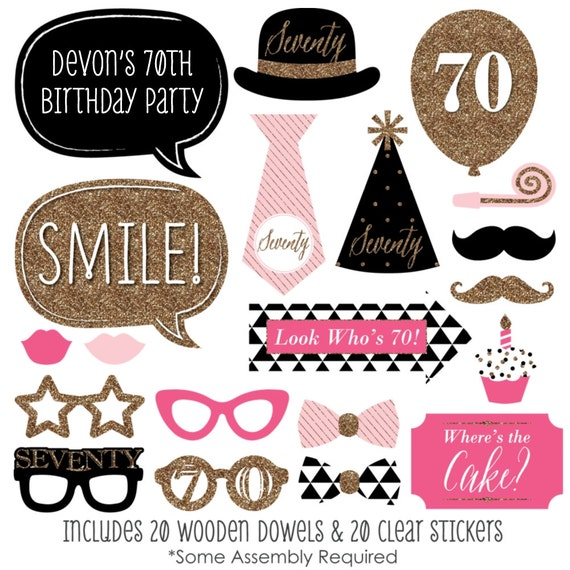 Chic 70th Birthday Pink Black And Gold Party Photo Booth Props