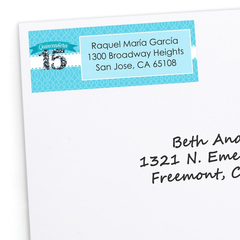 Quinceanera 30 Count Personalized Birthday Party Return Address Sticker Aqua Address Labels Sweet 15