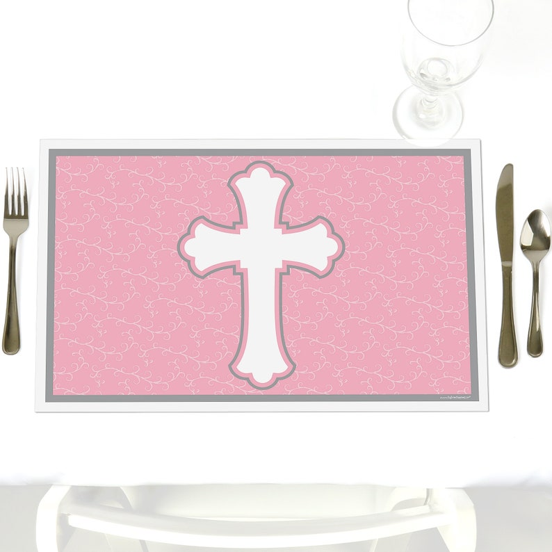 Little Miracle Girl Pink and Gray Cross Party Supplies -Set of 12 Baby Shower or Baptism Placemat Party Table Decorations