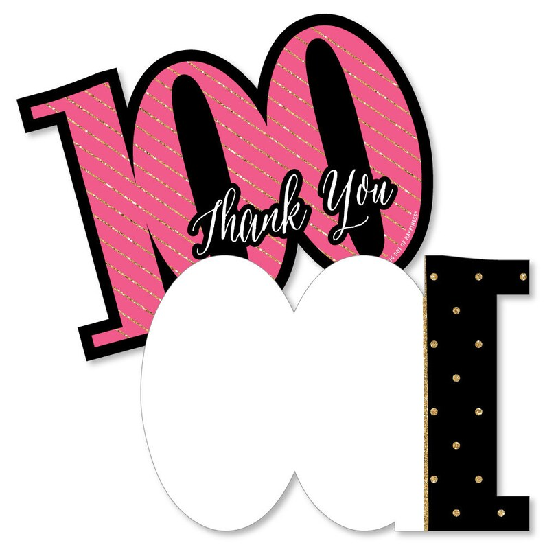 Big Dot of Happiness Chic 40th Birthday Black and Gold Pink Birthday Party Thank You Cards 8 Count