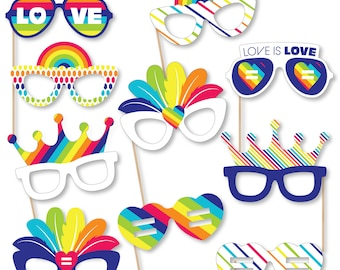 Love is Love - Gay Pride Glasses - Paper Card Stock LGBTQ Rainbow Party Photo Booth Props Kit - 10 Count