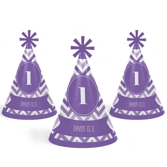 Chevron Purple Cone Happy Birthday Party Hats for Kids and Adults Set of 8 Standard Size