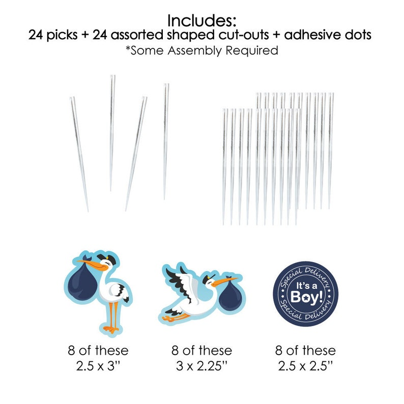 Stork Shaped Cut-Outs and Picks 24 Ct Dessert Cupcake Toppers Boy Stork Baby Shower Clear Treat Picks Boy Special Delivery