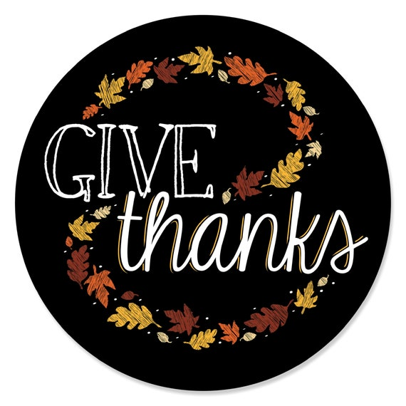 6 Beer Bottle Label Stickers and 1 Carrier Thanksgiving Party Decorations for Women and Men Big Dot of Happiness Give Thanks