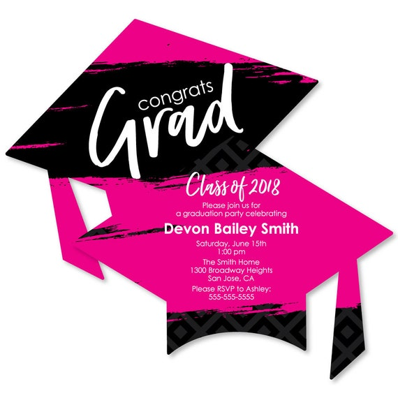 pink grad best is yet to come graduation invitations