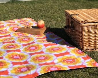 Cheery Orange/Yellow Floral Waterproof Blanket, Outdoor Rug, Picnics, Travel Blanket