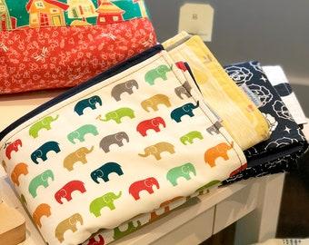 Organic Cotton Multicolor Elephant Waterproof Blanket, Gender Neutral Baby Quilt