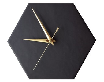 Small Black Contemporary Hexagonal Kitchen Wall Clock