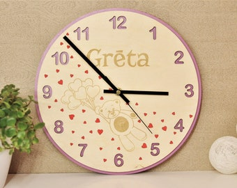 Personalised Clock / Personalized Wooden Clock / Kids Clock / Childrens Wall Clock