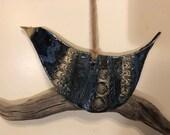 Bluebird hanging from Driftwood