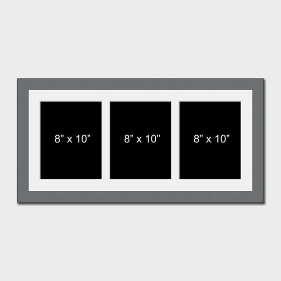 Multi Aperture Photo Picture Frame To Hold 2 8x10 Photos In a Grey Wood Stain