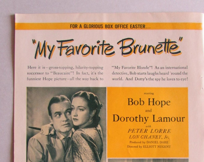 1947 Paramount Two Page Movie Trade Magazine Insert  for My Favorite Brunette