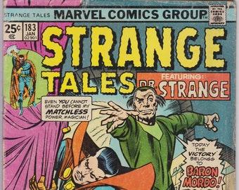 Strange Tales #183 (1st Series 1951-1976) January 1976   Marvel Comics   Grade G