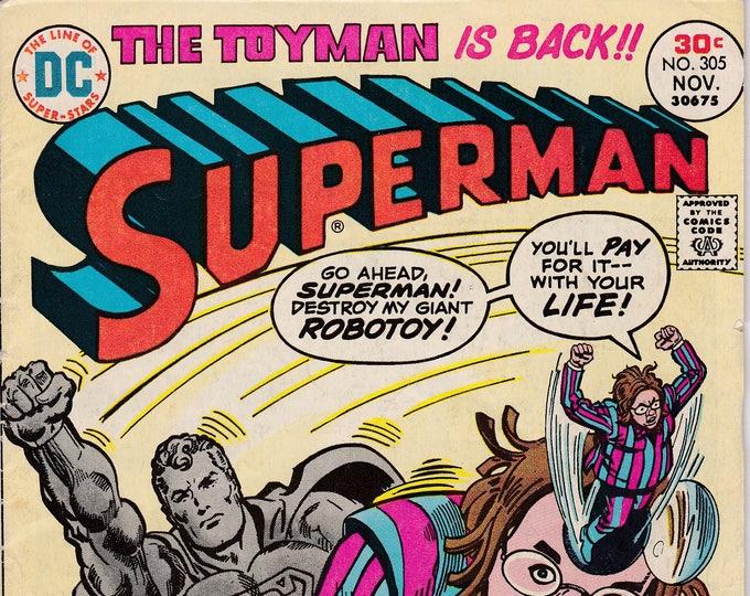 Superman #305 (1st Series 1939) November 1976  DC Comics Grade VG