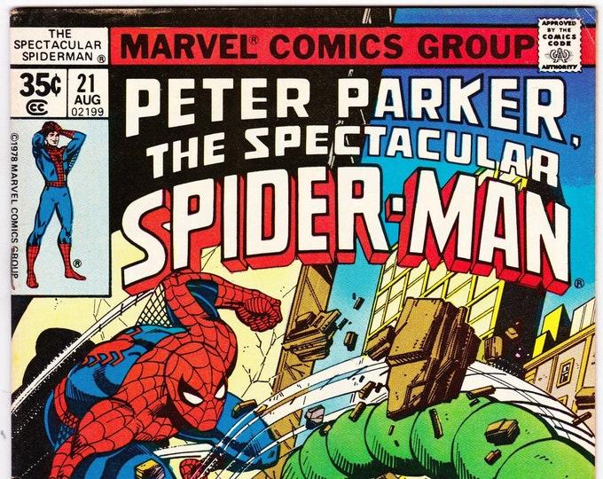 Spectacular Spider Man #21 (1st Series 1976) August 1978   Marvel Comics  Grade Fine+
