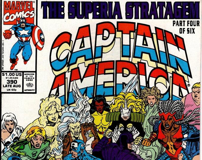 Captain America #390 (1968 1st Series) August 1991 Issue Marvel Comics Grade NM