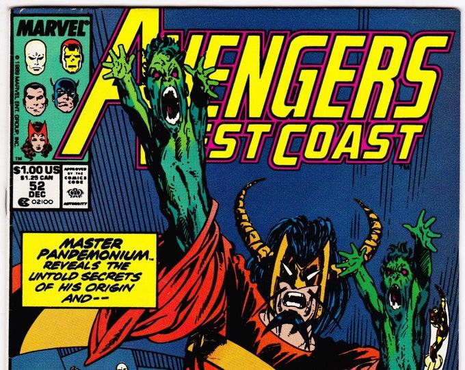 Avengers West Coast #52 (1985) December 1989   Marvel Comics   Grade VF