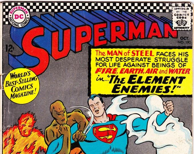 Superman #190 (1st Series 1939) October 1966    DC Comics    Grade Fine