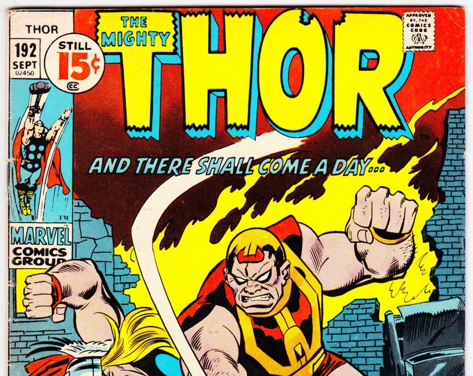 Featured listing image: Thor #192 (1962-1996 1st Series Journey Into Mystery) September 1971    Marvel Comics    Grade Fine