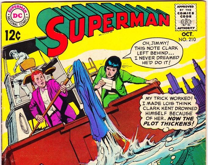 Superman #210 (1st Series 1939) October 1968    DC Comics   Grade Fine