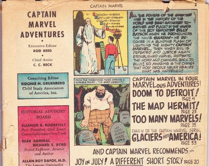 Captain Marvel Adventures #25 (1st Series 1941) July 1943   Fawcett Publications   Grade G