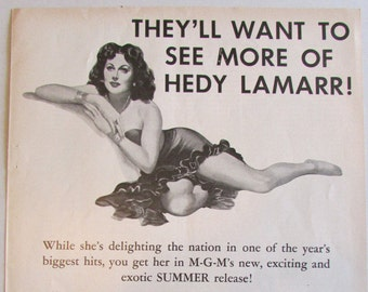A Lady Without Passport - Hedy Lamarr - 1950 - One Page Movie Add - Rare