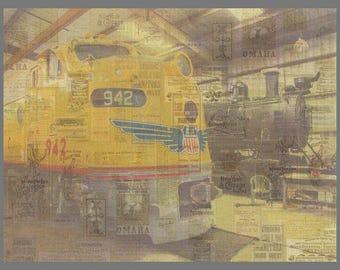 The City of Los Angeles   Union Pacific E8A Diesel Locomotive #942       Orange Empire Railway Museum   Original  Art Print