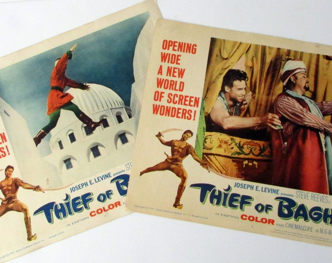 1961 Thief Of Baghdad (Steve Reeves) Original 11 x 14 Movie Lobby Cards