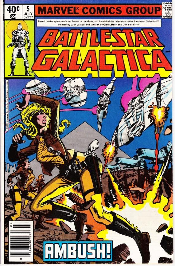 Battlestar Galactica Marvel Comic Book Lot of 4 1970s TV SciFi Starbuck Adama Collectibles Comics +