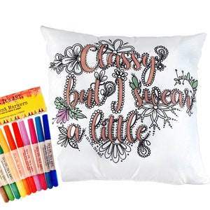 Adult Coloring Pillow Swear Word Pillow
