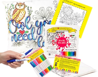 DIY Craft Kit, Easter Basket Craft, Kid Coloring Craft, Coloring Kit, Personalized Throw Pillow, Owl Craft, Owl You Need Is Love