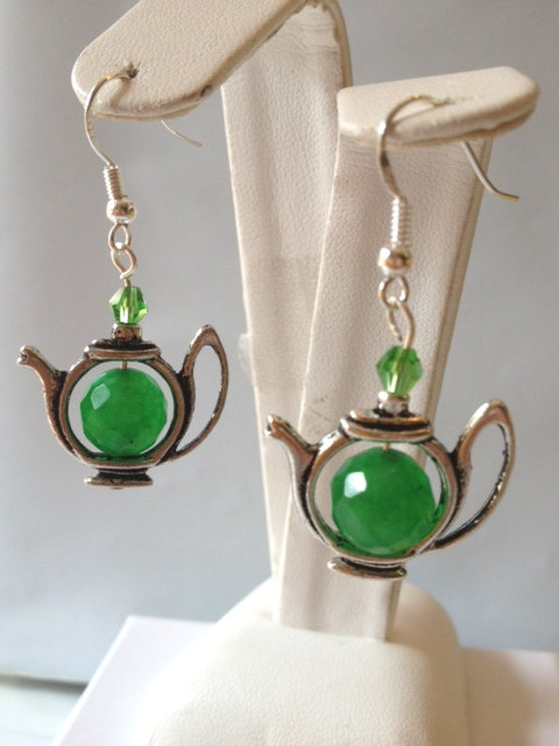 Cute 10 MM Green Jade Beads in Silvertone Tea Pot Earrings with Crystal Accents and 925 Sterling Silver Ear Wires