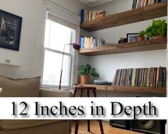"""BUY 1 GET 1 FREE ** 12"""" Deep ** Handmade Reclaimed Wood Floating Shelves **"""