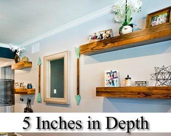 """BUY 1 GET 1 FREE ** 5"""" Deep **   Handmade Reclaimed Wood Floating Shelves"""