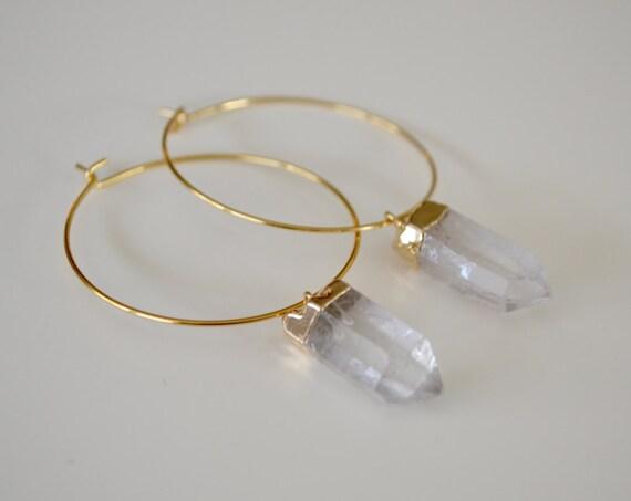 Quartz Crystal Gold Plated Hoop Earrings