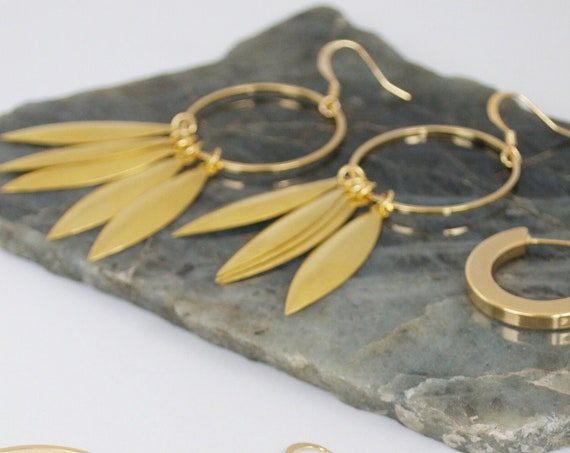 Petal Earring // brass statement earring with gold plated hoop and ear wire