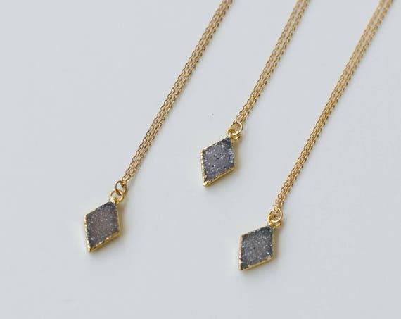 Small Druzy Diamond Necklace