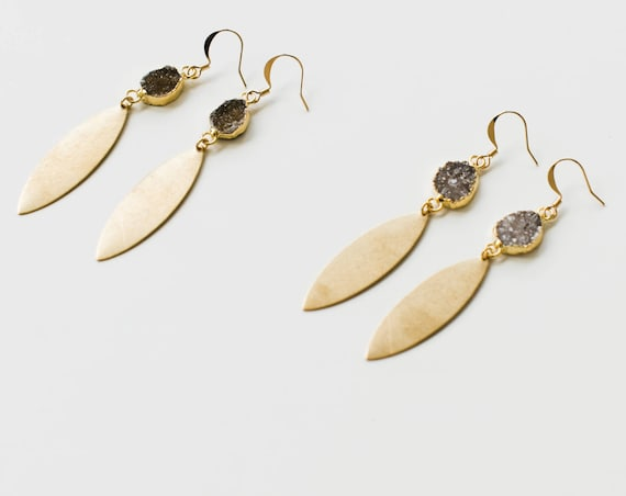 Aurora Earrings // gold plated druzy and brass dangle earrings