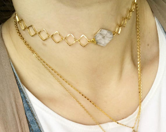 SALE // Roxanne Choker // quartz point diamond chain choker necklace