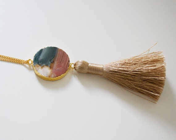 Tulum Tassel Necklace // silky tassel necklace with gold plated jasper coin detail
