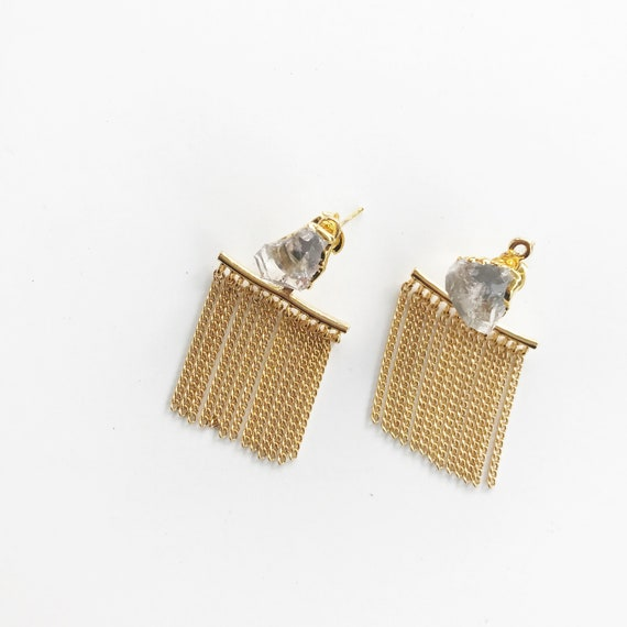 Adele Earring // silver gold quartz stud fringe tassel ear jacket statement ear crawler