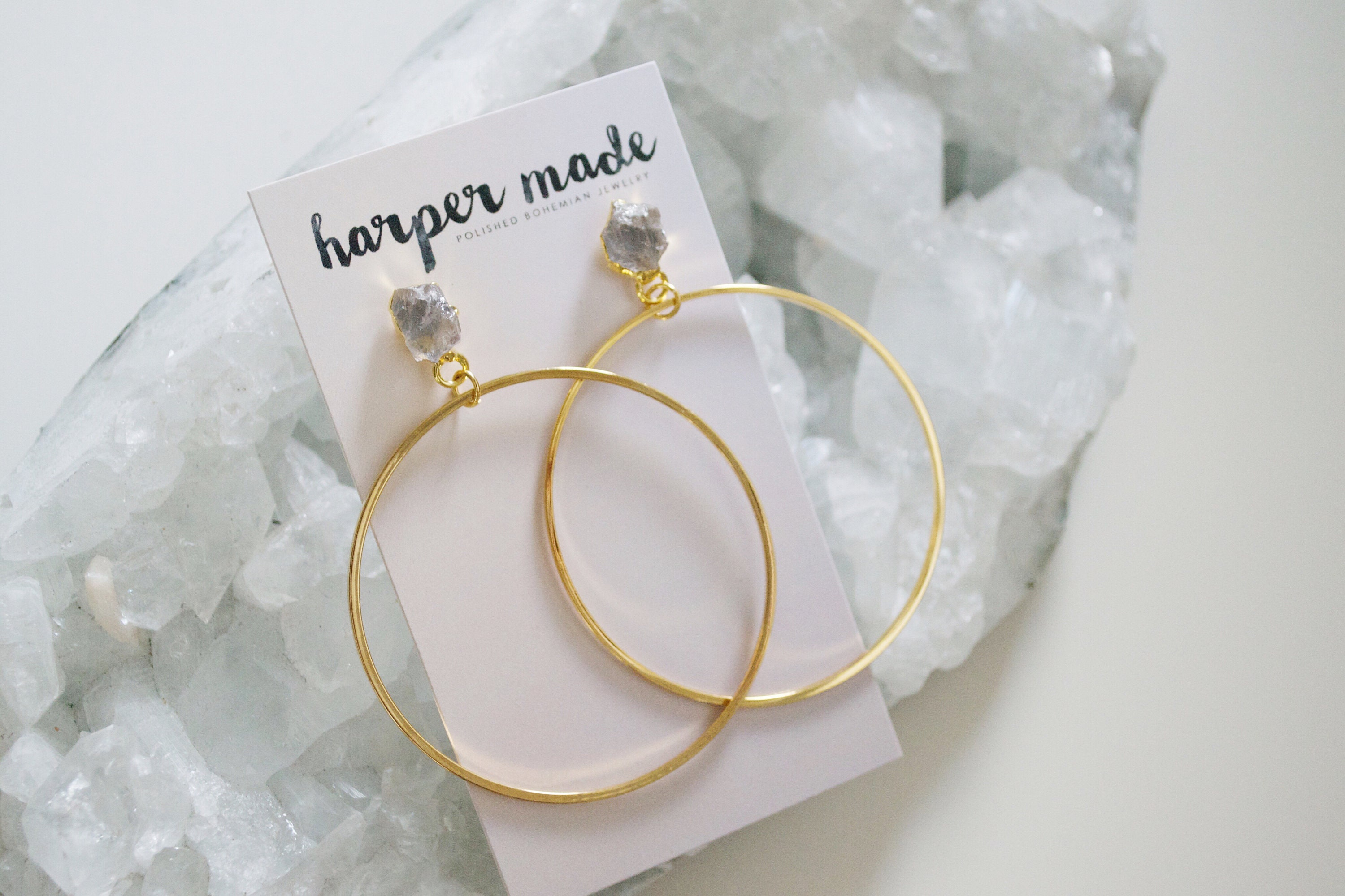 587f9d5d8 Stella Earring // raw crystal gold or silver plated stud hoop statement ...