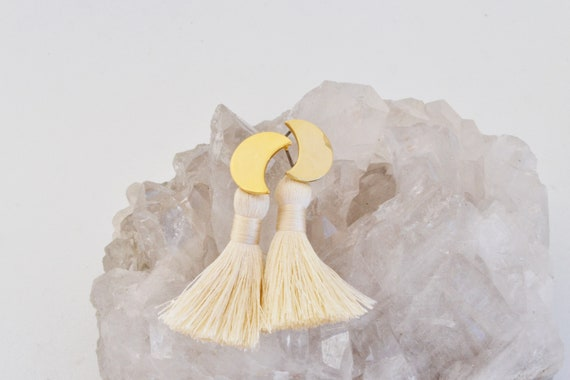 SALE // Moon Tassel Earrings