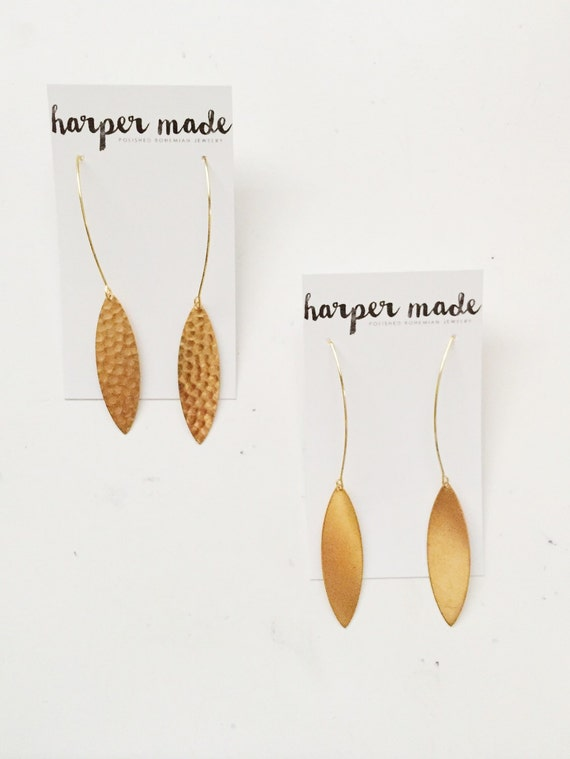 Brass Oval Drop Earring