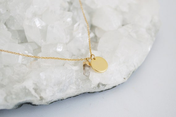 Crystal Coin Necklace // matte gold plated coin charm and mini electroplated quartz point short layering necklace