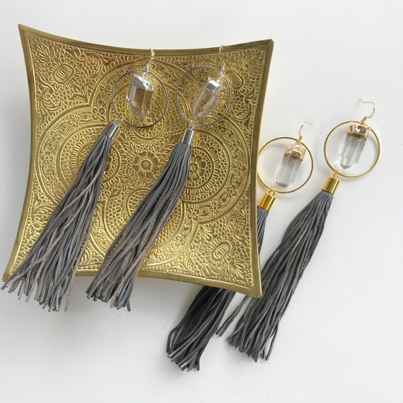 Athena Earring // gold silver plated quartz hoop leather tassel statement earring