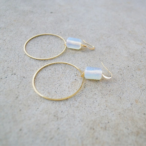Emma Earring // opalite or lapis bead gold hoop statement earring